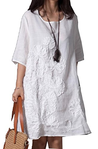 Embroidery Neck Jaycargogo Stylish White Half Round Dress Sleeve Linen Loose Women's txYYw7qR