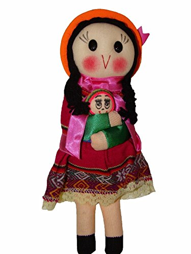 "#4088 Peruvian Traditional Dressed Doll 9"" Artisan Made Fair Trade Rag Costume from CleveAid"