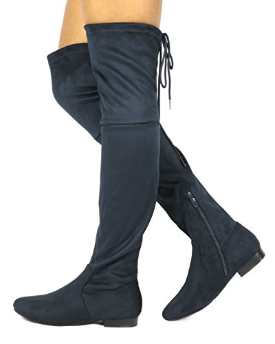 DREAM PAIRS Damenmode Casual Overknee Pull On Slouchy Boots Dunkelblau-p