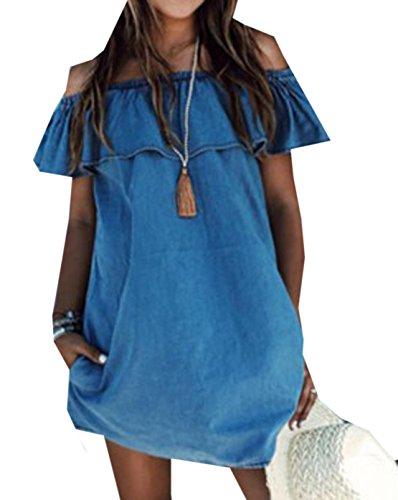 Damen Mode Jeanskleider Volants Ein Wort Kragen Shirtkleider Einfarbig Blusenkleider Armellose Partykleid Sommer Loose Strandkleider Minikleid