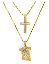 Pave Cross & Jesus 2 Piece Gold-Tone Micro Pendant Set w/ Box Chain RC202G