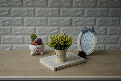 Teapot shape Artificial Flowers Arrangement with Wind Chimes MINI Ceramic Pots for Decoration