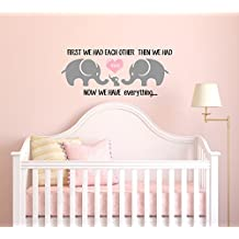 """Three Cute Elephants parents and kid Family, wall decal With Heart, Wall Decal Baby Nursery Decor Kids Room, Wall Stickers, Elephant Wall Decal - Elephant - Perfect for a Gift (48""""W X 20""""H)"""