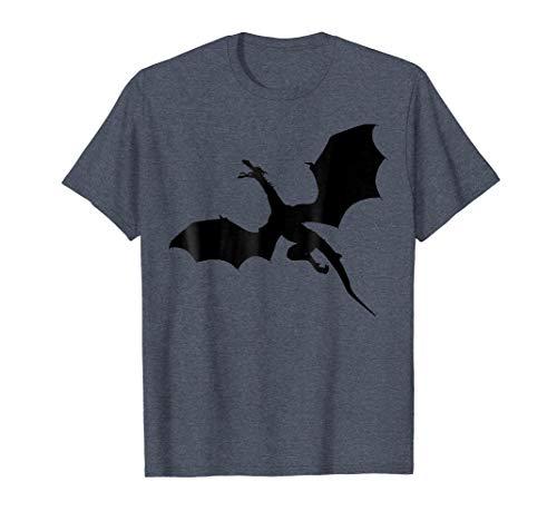 - Mens Sleek Dragons Shadow Graphic Print T-Shirt Large Heather Blue
