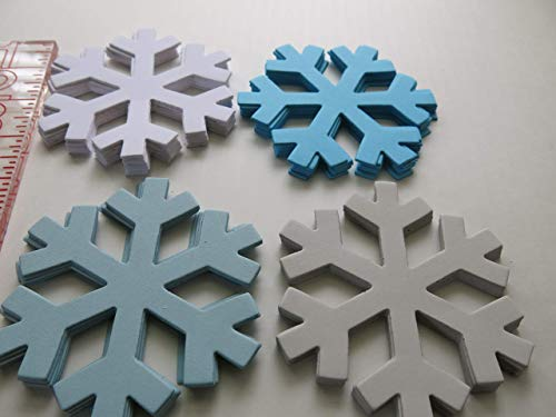 "24 Snowflake Die Cut Shapes, Winter Princess Colors Birthday Party Confetti, 4"" Long, Package Gift Tag, Ice, Blue Grey White from Always In Blossom"