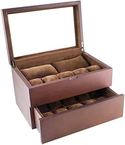 Caddy Bay Collection Vintage Wood Clear Glass Top Watch Box Display Storage Case Chest Holds 20+ Watches With Adjustable Soft Pillows and High Clearance for Larger Watches
