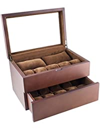 Vintage Wood Clear Glass Top Watch Box Display Storage Case Chest Holds 20+ Watches With Adjustable Soft Pillows and High Clearance for Larger Watches