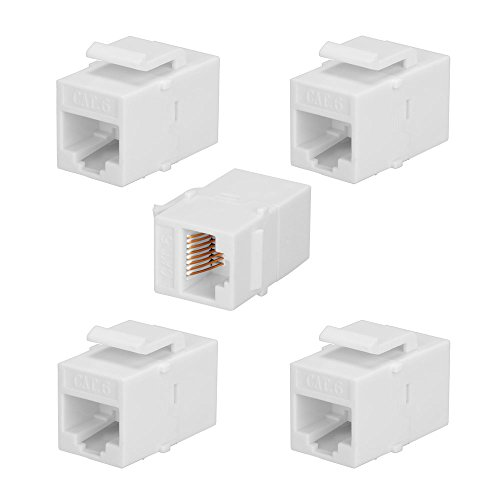 BATIGE 5-PACK CAT6 RJ45 Keystone Jack Female Coupler Insert Snap-in Connector Socket Adapter Port For Wall Plate Outlet Panel - White Port Cat6 Keystone Jack
