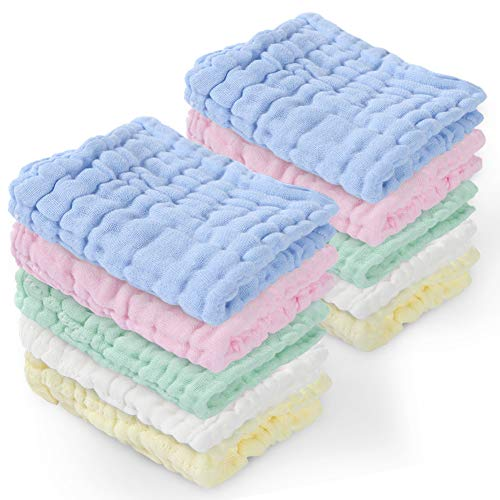 Baby 100% Cotton Washcloths, Fasoar Reusable Muslin Baby Wipes, Soft Absorbent Newborn Burp Face Cloths for Sensitive Skin, Organic Warm Towels for Shower Gift, Multi-Color 10-Pack 12x12 inches
