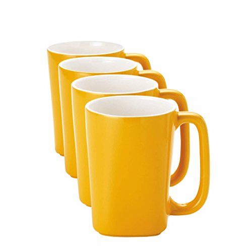 - Rachael Ray Dinnerware Round and Square 4-Piece Stoneware Beverage Mug Set, Yellow