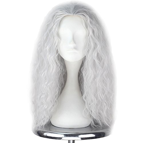 Men Adult Unisex Long Fluffy Curly Party Cosplay Costume Wig Halloween 80s Punk Wig (Silver Grey)