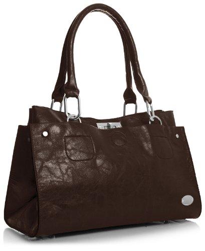 in Marrone lo Shop Big spalla borsa Handbag Tan dunkel ecopelle donna AnY4SxqTaw