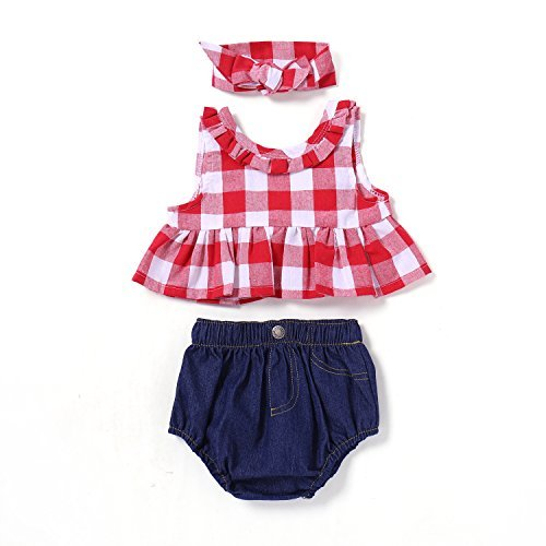 (Baby Girl Shorts Set Outfit Red Plaid Ruffle Bowknot Tank Top+Jeans Shorts Outfit with Headband )