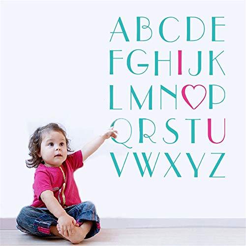 Emeas Vinyl Peel and Stick Mural Removable Wall Sticker Decals for Room Home Girls Love Alphabet I Heart U Sticker Large for Nursery Or Kids Room Bookshelf Sticker