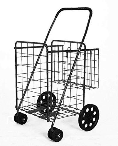 (PrimeTrendz Folding Shopping Cart Double Basket Jumbo Size 150lb Capacity by USA Cash and Carry |)