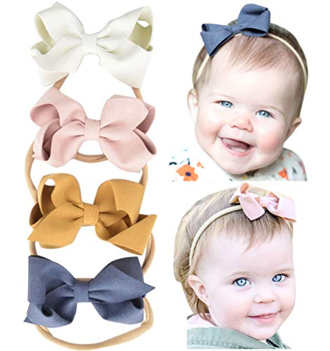 California Tot Soft & Stretchy Nylon Headbands for Newborn, Baby, Toddler, Girls, Mixed Set of 4 (3D Suede Headband Set)