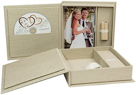 Boda CD/USB de caja con foto de caja. Lino plástico Natural ...