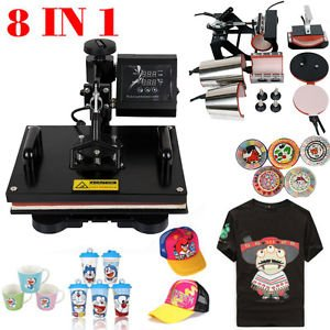8 in 1 Multifunction Sublimation T-Shirt Mug Hat Plate Cap Heat Press Machine 1200W Transfer Sublimation Hat Mug Cap Plate 15' X 12'