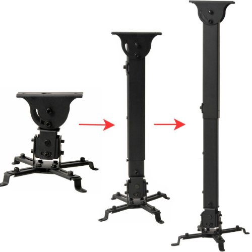 """VideoSecu LCD DLP Projector Vaulted Ceiling Mount Bracket with Adjustable Extension Pole to 26.7"""" - Black PJ2B 1C9"""