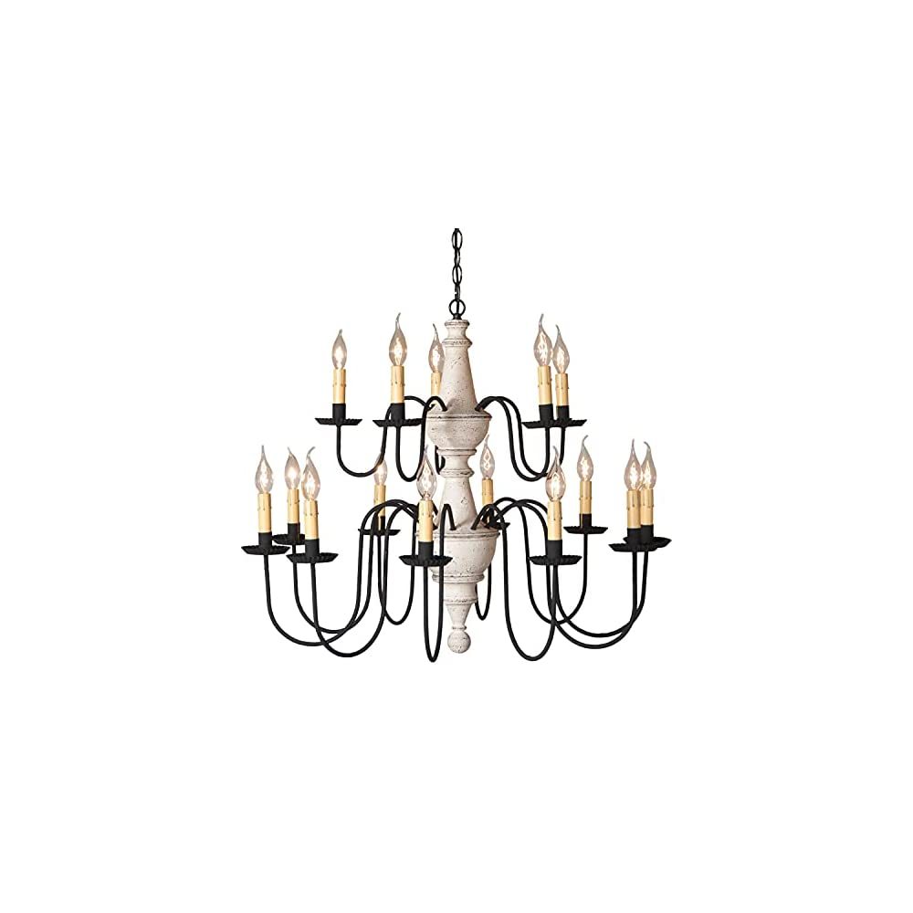 Irvin's Country Tinware 9157TVWH - Harrison Wood & Tin Two-Tier 15-Light Chandelier in Vintage White
