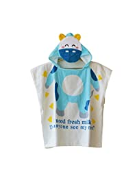 Baoblaze Cotton Baby Dressing Gown Cute Hooded Bathrobe Towel Boy Girl Animal Head - Blue Cow, 60x120cm