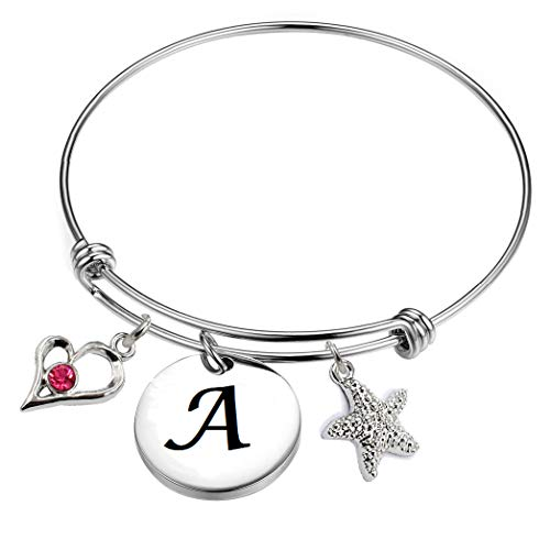 Initial Alphabet Charms Expandable Wire Bangle BraceletsJewelry Gifts /Mom/Daughter/Her.26 Letters Choices.