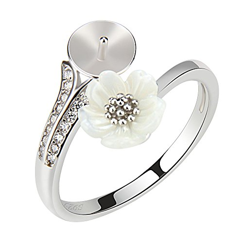 NY Jewelry Women 2 Pieces 925 Sterling Silver Flower Adjustable Ring Accessories/Mounting with DIY Pearl Seat