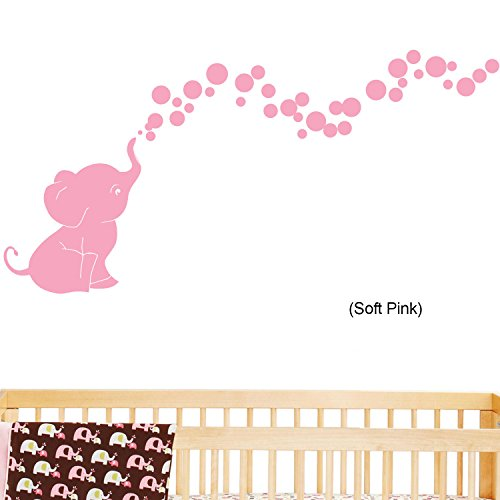 Soft Pink Bubbles (Elephant Bubbles © Nursery Wall Decal Set (Soft Pink) By Decal the Walls)