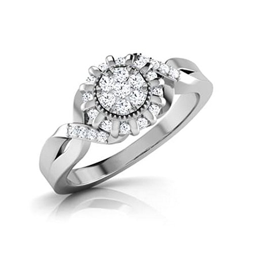 14K White Gold (HallMarked), 0.33 cttw Round-Cut Diamond (IJ | SI ) Diamond Engagement Wedding Ring Size - 7 by PEACOCK JEWELS