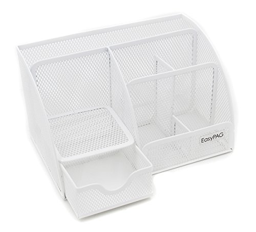 EasyPAG Mesh Desk Organizer 6 Compartments with Drawer,White