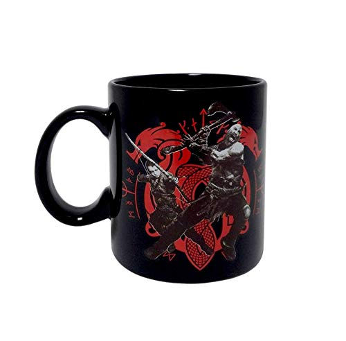 (God of War Coffee Mug, Black colored Ceramic Coffee Mug with God of War Logo printed, Pack of 1, 16oz )