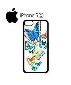 LJF phone case Butterfly Colourful Art Mobile Cell Phone Case Cover iphone 4/4s White