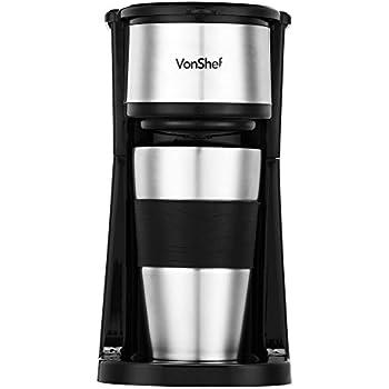 VonShef Single Serve Personal Filter Coffee Machine with 14oz Travel Mug & Lid