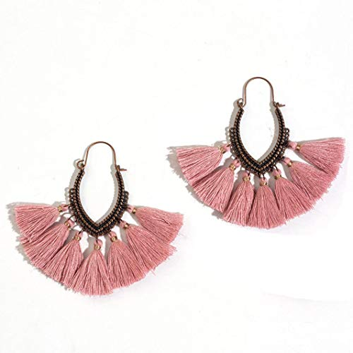 (Women Fringe Earring Vintage Bohemian Ethnic Tassel Drop Dangle Earrings Trendy Party Accessories)