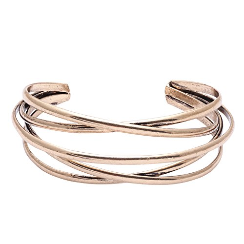 Bronze Hoop (BEICHUANG Multi-layer Ancient Bronze Wire Open Hoop Cuff Bangle Bracelet Gold Rose Gold Silver Tone (gold))
