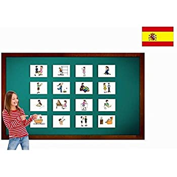 Tarjetas de vocabulario - Verbs Flashcards in Spanish - Verbos Set 2 - Vocabulary Picture Cards for Language Learning