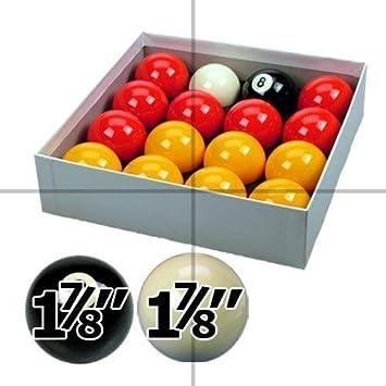 ClubKing - Juego de bolas de billar (4,7 cm), color rojo y amarillo: Amazon.es: Deportes y aire libre