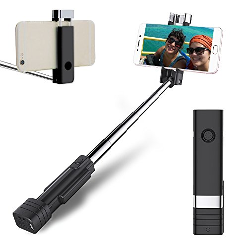 Bluetooth Selfie Stick, atongm Mini Cell Phone Selfie Sticks for iPhone X/8/8Plus/7/7Plus/6/6Plus/6s/6s Plus/5S, Galaxy S5/S6/S7/S8, Google, Huawei ect(Black)