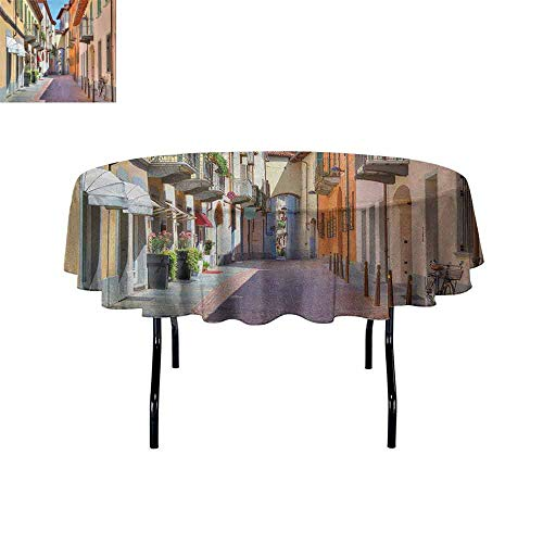 - DouglasHill City Printed Tablecloth Town of Alba Piedmont Northern Italy Narrow Stone Paved Street Among Colorful Houses Desktop Protection pad D59 Inch Multicolor