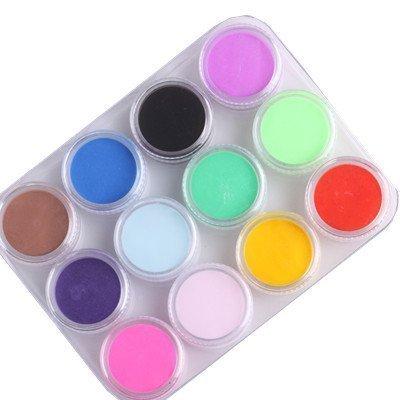WAWO 12 Mix Colors Acrylic Powder Builder Nail Art Set (Acrylic Powder) 12 Mix Colors Acrylic