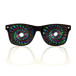 Premium Spiral Diffraction Glasses By Alternative Imagination Clear Lens 3D Glasses- Ideal For Raves, Music Festivals, Light Shows, Concerts, Fireworks & Parties (Black, Spiral - Clear)