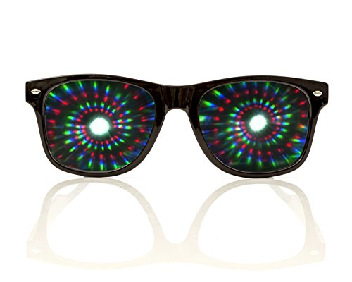 Premium Spiral Diffraction Glasses By Alternative Imagination Clear Lens 3D Glasses- Ideal For Raves, Music Festivals, Light Shows, Concerts, Fireworks & Parties (Black, Spiral - - For Glasses Face Wide Best