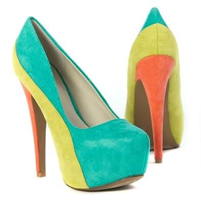 Qupid Womens High Heel Platform Color Block Pumps Stilettos Shoe, Sea Green Velvet Suede, 9 M US