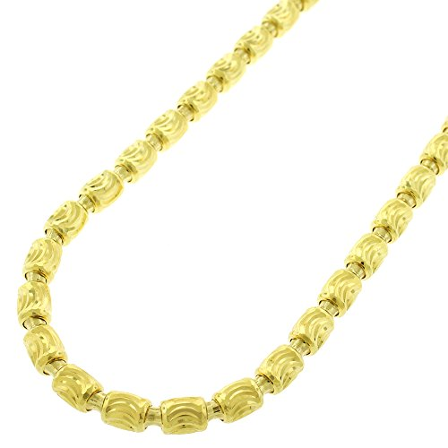 Sterling Silver Italian 4mm Oval Bead Moon-Cut Barrel Link - 18K Yellow Gold Plated - Solid 925 Necklace Chain - 24
