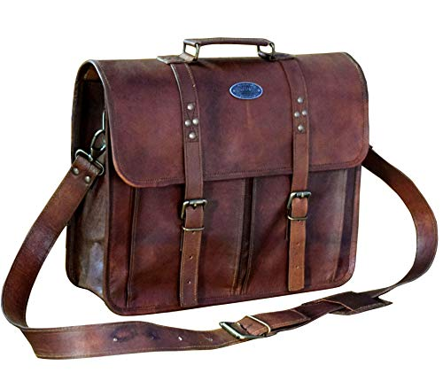 Leather Messenger Vintage Handmade Satchel Office Briefcase College Bag Best Computer Laptop Distressed for Unisex By Indian Hando Art.