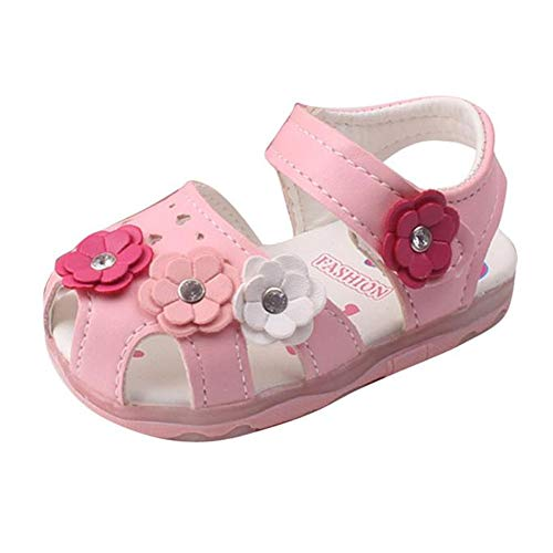 Toddler New Flowers Girls Sandals Lighted Soft-Soled Princess Baby Shoes - HHmei Girls flower cool lace lamp princess baby shoes (Pink, ()