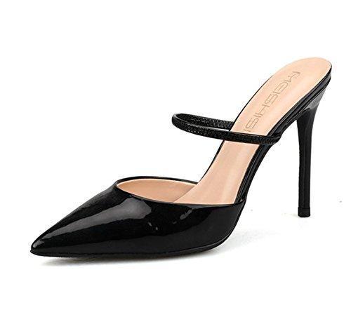 Stilettos Pie Black Puntiagudo Zapatos Corte Vestir Del Slingback Nvxie Dedo Talones Mujer Bomba Boda wvBIwq6