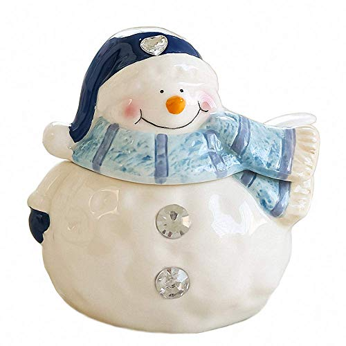Cute Crystal Snowman Ceramic Sugar Bowl with Lid Sugar Dispenser Salt Pot Pepper Storage Jar Seasoning Pot Container Sugar Box Condiment Spice Racks Holder for Home Kitchen (Snowman Dispenser Beverage)