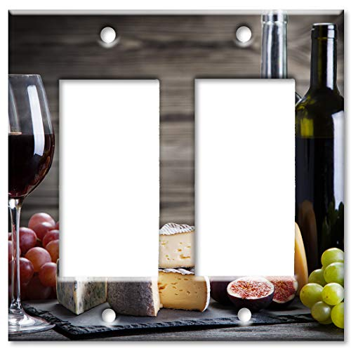 Art Plates 2 Gang Decora - GFCI Wall Plate - Red Wine and Cheese (Best Wine And Cheese)