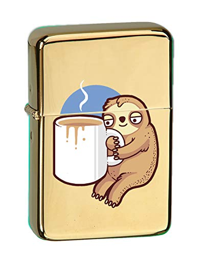 - Hat Shark Randy Otter Good Morning Coffee Sloth Vector KGM Thunderbird Vintage Lighter - High Polish Brass